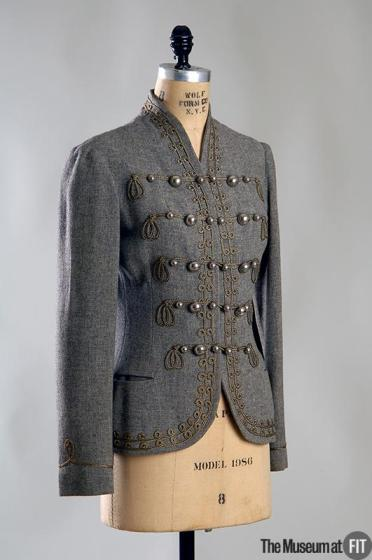 Day jacket, wool flannel with passementerie trim and metal buttons, 1935, USA. Gift of Muriel King. MFIT