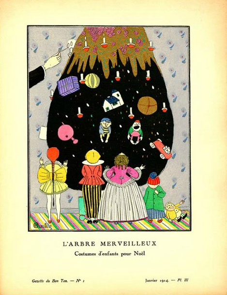 """Martin, Charles. """"L'Abre Merveilleux - Costume d'enfant pour Noel"""", 1914. Lithograph with hand-applied color, 25.4 cm x 19.1 cm. Plate III from Gazette du Bon Ton, Volume 2, Number 1, Christmas 1913 – January 1914. From the Minneapolis College of Art and Design, accession number 17555."""