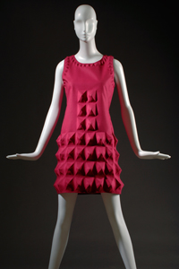 "Pierre Cardin, dress, fuchsia ""Cardine"" textile with molded 3D shapes, 1968, USA, gift of Lauren Bacall."