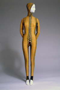 Jean Paul Gaultier, jumpsuit, multicolored nylon and spandex with Op-Art cyber graphic print, 1996, France, museum purchase.