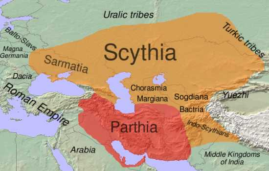 Approximate extent of Scythia and the Scythian languages (orange) in the 1st century BC. Found online at thefreedictionary.com