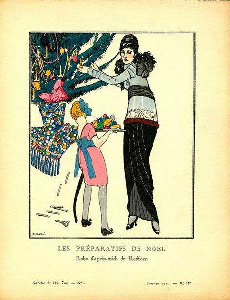 "Gose, Javier Francisco. ""Les Préparatifs de Noel – Robes d'après-midi de Redfern"", 1914. Lithograph with hand-applied color, 25.4 cm x 19.1 cm. Plate IV from Gazette du Bon Ton, Volume 2, Number 1, Christmas 1913 – January 1914. From the Minneapolis College of Art and Design, accession number 17577."