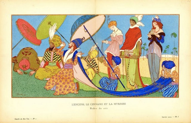 "Strimpl, Ludwik. ""L'Encens, le cinname et la myrrhe – Robes du soir"", 1913. Lithograph with hand-applied color, 25 cm x 38.5 cm. Plate I from Gazette du Bon Ton, Volume 2, Number 1. From the Minneapolis College of Art and Design, accession number 17582."