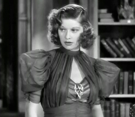 Lucille Ball in Stage Door (1937)Costume design by Muriel King. Source: classicfilmheroines.tumblr.com