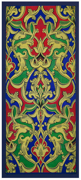 Alhambresque, 1855. Woven silk with satin binding, 127 x 55.6 cm. Possibly woven by Owen Jones. Likely woven by Daniel Keith & Company. Accession number T.132-1972 at The Victoria and Albert Museum.