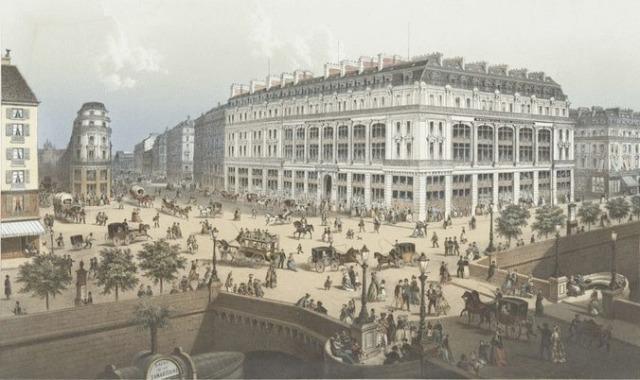 Sorrieu, Frédéric. Maison de la Belle Jardinière, nouveau magasin, vue perspective depuis le Pont-Neuf, after 1878. Color lithograph, 66 x 52 cm. Found at La Musée d'Orsay.