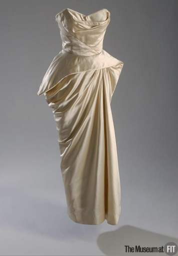 James, Charles. Ivory silk satin evening dress with boning, c. 1952. From The Museum at FIT, object number 70.1.1.