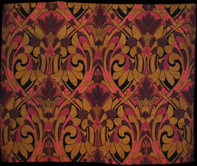 Jones, Owen. Jacquard-woven silk, designed in 1872. Woven in Spitalfields, 45.2 x 54.5 cm. Manufactured by Warner and Sons. Accession number T.94A-1930 at The Victoria and Albert Museum.