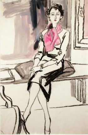 Potter, Jack. Mimi Monette wearing a pink scarf. Conté and watercolor, 56.5 x 38 cm. Accession number 2009.140 at tje Museum of Fine Arts, Boston.