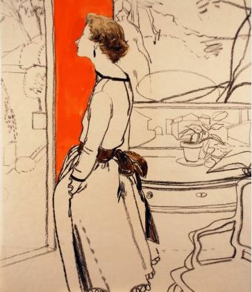 Potter, Jack. Mimi Monette, interior with orange background. Conté and watercolor, 52 x 45.5 cm. Accession number 2009.141 at the Museum of Fine Arts, Boston.