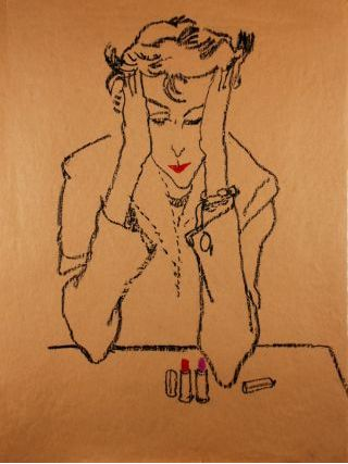 Potter, Jack. Woman contemplating lipstick, 1950s. Conté on paper, 60.5 x 46 cm. Accession number 2009.145 at the Museum of Fine Arts, Boston.