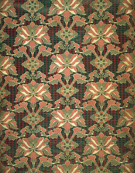 Jones, Owen. Sultan, 1870-74. Jacquard woven silk,  73.5 cm. x 52 cm. Manufactured by Warner and Sons. Accession number T.163-1972 at the Victoria and Albert Museum.