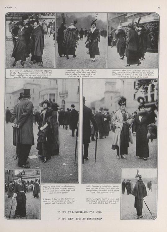 """Fashion: Seen at Longchamp,"" Vogue, June 1, 1914, 49."