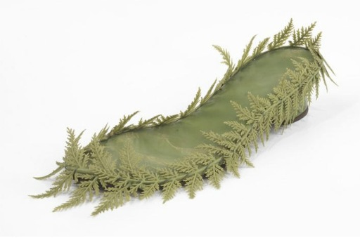 Levine, Beth. Topless shoe, 1955 - 1960. Green kidskin with green plastic fern fronds. Part of the Brooklyn Museum Costume Collection at the Metropolitan Museum of Art.