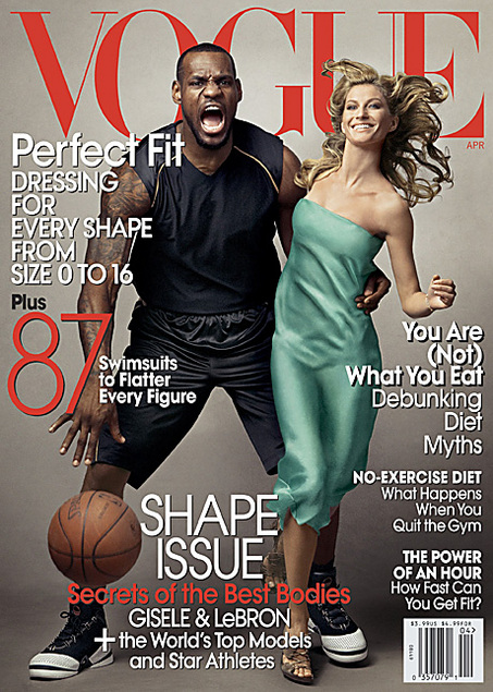 """Vogue,"" April 2008, LeBron James and Giselle Bundchen (Courtesy Conde Nast)"