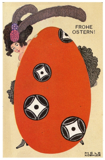 Koehler, Mela. Happy Easter! (Frohe Ostern!). From Mail Art Anno Klimt, found online.