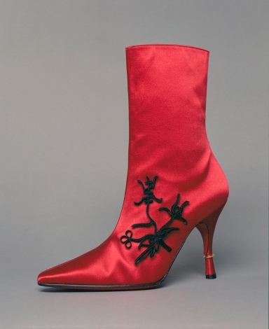 Satin evening boots by Christian Louboutin , fall 1994-95,France, MFIT, gift of Christian Louboutin