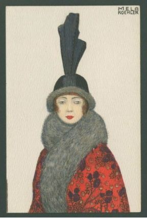 Koehler, Mela. Fur trim black hat, from the series Portraits of women with hats. Color lithograph on card stock, 14 x 8.9 cm. Accession Number PG.2010.182.1 at the Museum of Fine Arts, Boston.