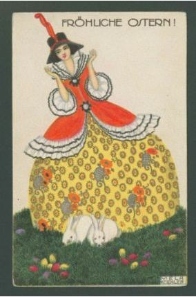 Koehler, Mela. Bright yellow egg dress with two bunnies, from the series Easter greetings, about 1912. Color lithograph on card stock, 14 x 8.9 cm. Accession number PG.2010.194.1 at the Museum of Fine Arts, Boston.