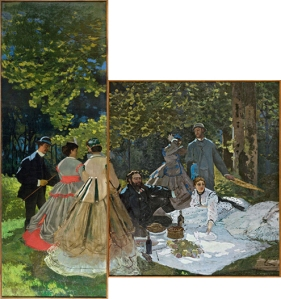 Monet, Claude. Luncheon on the Grass (left panel and center panel), 1865-66.  Oil on canvas, 164 5/8 x 59 (left panel) and 97 7/8 x 85 7/8 in. (right panel). From the collection at the Musée d'Orsay. Found online.