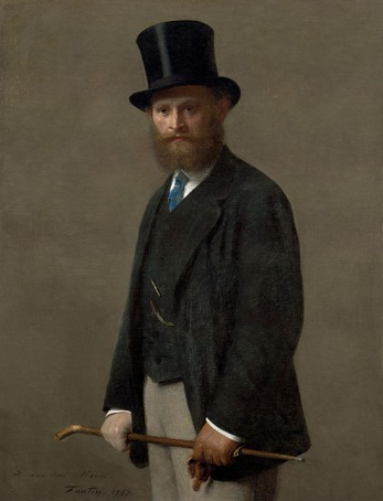 Fantin-Latour, Henri. Édouard Manet, 1867. Oil on canvas; 46 5/16 x 35 7/16 in. Part of the collection at The Art Institute of Chicago. Found online.