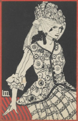Likarz, Maria. Fashion (Mode), ca. 1907/8–14. Color lithograph, 14 x 9 cm. Accession number WW.781 at the Metropolitan Museum of Art.