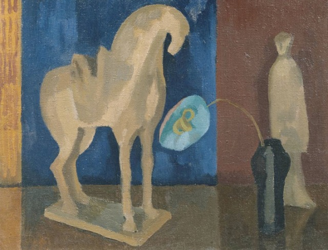 Fry, Roger. Still Life with T'ang Horse, 1919-21. Oil paint on canvas, 356 x 457 mm. Accession number T01780 at the Tate Britain.