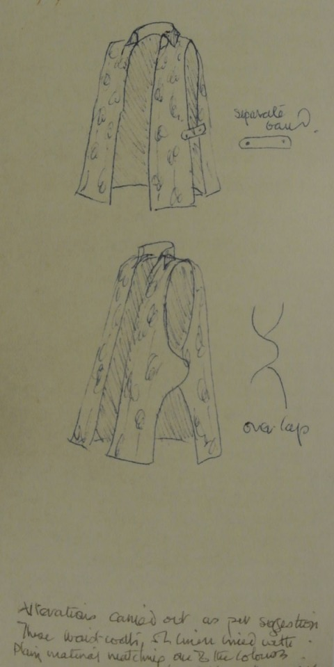 Gill, Winifred. Two sketches of a sleeveless tunic or waistcoat made out of Omega printed linen. Pen on letter paper, 180 x 90 mm. The Bodleian Library, Oxford. Found in Source 3.