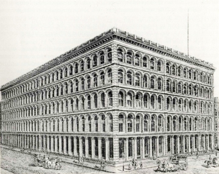 A.T. Stewart's store at the corner of Broadway and Tenth Street, C. 1869. The New York Historical Society.