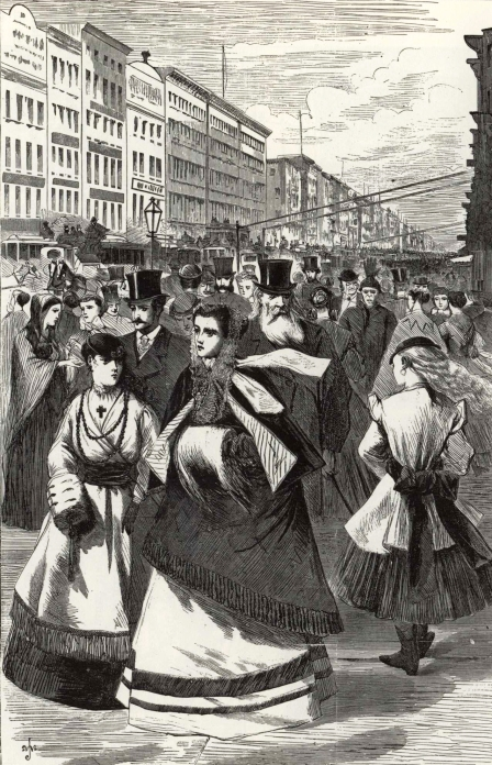 Broadway, 1868. Harper's Weekly, February 15, 1868.