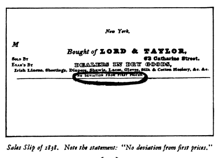 Lord & Taylor Sales Slip, 1838.  The History of Lord & Taylor, 1826-1926.