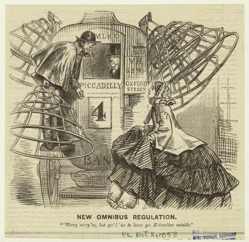 """New Omnibus Regulation.""  Punch, 1858, NYPL Digital Gallery"