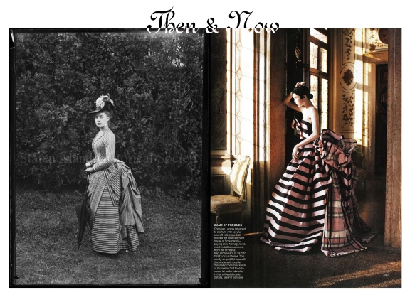 Left: Alice Austen, June 1888. Photograph by Captain Oswald Muller. Courtesy of the Staten Island Historical Society.  Right Christian Lacroix for Schiaparelli. Scanned from Vogue September 2013.