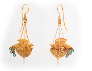 Birds nest earrings.  A la Vielle Russie
