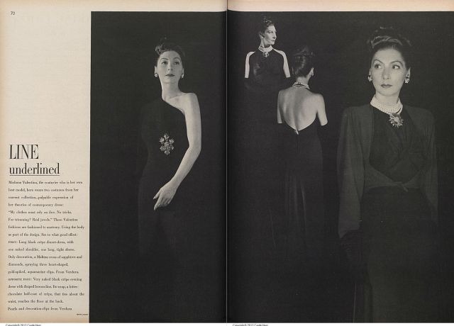 Valentina modeling her own design in Vogue, November 15, 1944