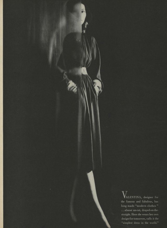 Valentina modeling one of her designs in Vogue, February 1, 1945
