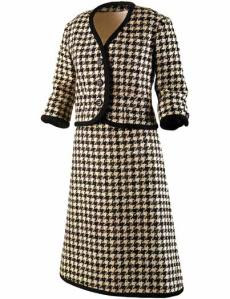 Houndstooth Suit worn by Jacqueline Kennedy on the campaign trail via The John F. Kennedy Presidential Library and Museum