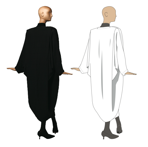 Photo and illustration of Patrick Kelly's one seam coat.