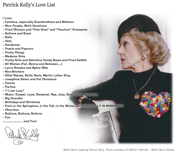 Patrick Kelly's Love List featured on Philadelphia Museum of Art's website.